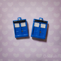 Tardis Stud Earrings - Doctor Who - Individually Hand sculpted