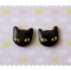 Kawaii Halloween Kitty Earrings - Cute Black Cat Studs - Hand sculpted