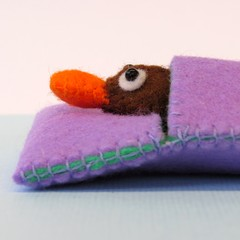 Australian Platypus - Felt  toy miniature - Animal Softie in a bed