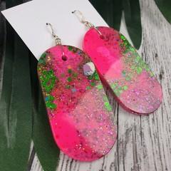 Oval Hot Hot Pink and Green Glitter Resin - MEGA Dangle earrings