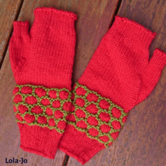 Fingerless mitts adult small/medium wool red and green