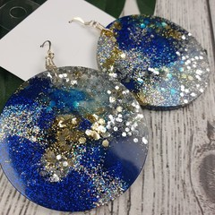 Round Blue Gold Silver Glitter Resin - MEGA Dangle earrings