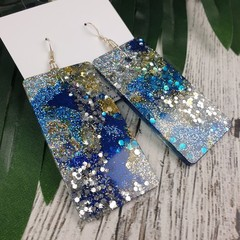 Rectangle Blue Gold Silver Glitter Resin - MEGA Dangle earrings
