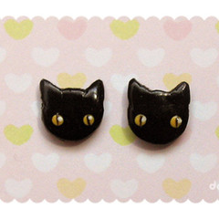 Kawaii Halloween Kitty Earrings - Cute Black Cat Studs