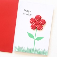 FREE POST | 3 Happy Birthday Cards | Red Floral Birthday Card