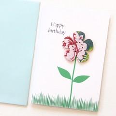 Happy Birthday Card | Blue Pink Floral Birthday Card
