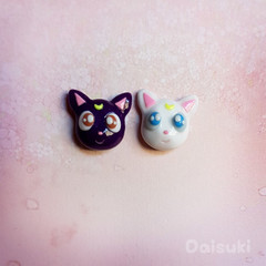 Artemis & Luna earrings - Hand-sculpted kawaii Sailor Moon tribute