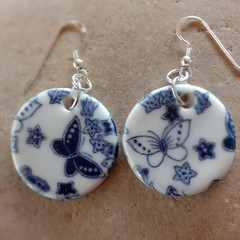 Porcelain Blue Butterfly Earrings