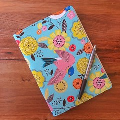 Note Pad Cover - Bird with Flowers