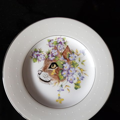 Hand painted Royal Doulton plate cat