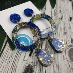Hoop Teardrop Gold Glitter Resin - MEGA Dangle earrings