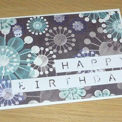 Female Happy Birthday card - grey and green modern floral