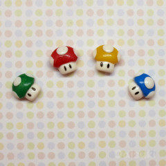 Mushrooms set of 4 stud earrings - Super Mario - Handmade