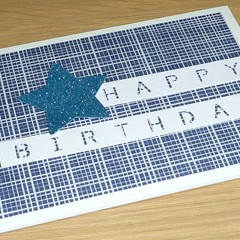 Male Happy Birthday card - blue and white print