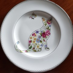 Handpainted Waterford plate floral cat and butterfly