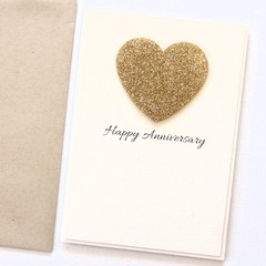Personalised Anniversary Card | Custom Made | Gold Heart