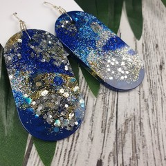 Oval Blue Gold Silver Glitter Resin - MEGA Dangle earrings