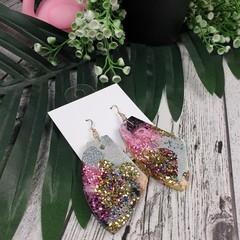Orgnic Purple Galactic Glitter Resin - MEGA Dangle earrings