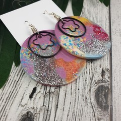 Round Pink Disco Silver Glitter Resin - MEGA Dangle earrings