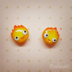 Calcifer Hand-sculpted earrings - Studio Ghibli Howl's Moving Castle Tribute
