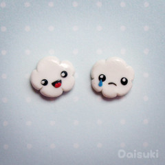 Happy Cloud, Sad Cloud Earrings - Kawaii / Cute - Hand sculpted