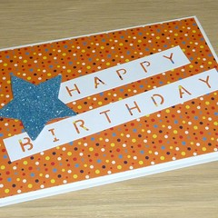 Male Happy Birthday card - spotty orange
