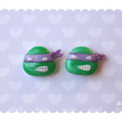Kawaii Donatello handmade stud earrings - Teenage Mutant Ninja Turtles