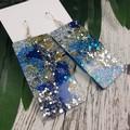 Rectangle Blue Gold Silver Glitter Resin - MEGA Dangle earrings
