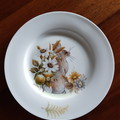 Hand painted bone china plate featuring rabbit and flowers