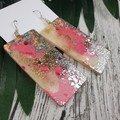 Rectangle Pink Unicorn Gold Silver Glitter Resin - MEGA Dangle earrings