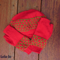 Teen small/medium adult, red and green