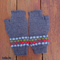 Fingerless mitts adult large wool denim, light blue, red and green