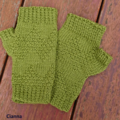 Fingerless mitts adult small/medium wool green