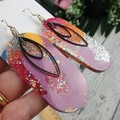 Oval Pink Unicorn Glitter Resin - MEGA Dangle earrings