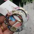 Circle Pink Purple Gold Silver Glitter Resin - MEGA Dangle earrings