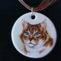 Porcelain Cat Pendant