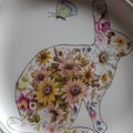 Handpainted Wedgwood plate floral Rabbit and butterfly