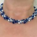 Swarovski Crystal Pearl Triad Necklace and Bracelet Set