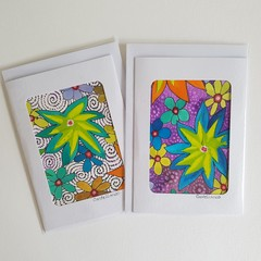 Set of Two, Hand Painted, Water Colour, Acrylic and Ink, Paintings as Art Cards