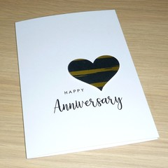 Anniversary Card - black and gold heart