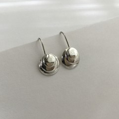 Shell shaped circular domed drop earrings handcrafted in sterling silver 925