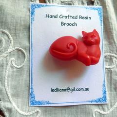 Red Kitty Brooch