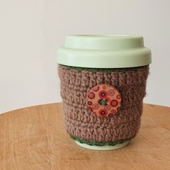 Crochet Cup Holder with hookTURN silicone cup 8 oz