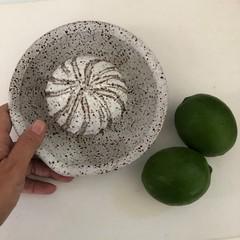 Pottery Fruit Juicer - White Speckle Glaze