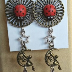 """Fairy Moon LadyBug"" Earrings/Necklace."