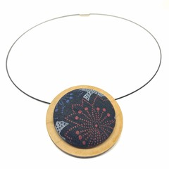 Circular Timber Pendant - Red and Grey Blossom