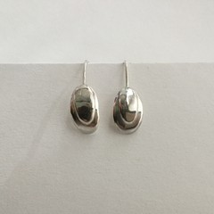 Shell shaped oval domed drop earrings handcrafted in sterling silver 925