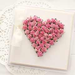 Gift boxed heart card boxed pink paper roses Blank Birthday Mother's Day Wife