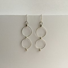 Circular wire drop earrings handcrafted in sterling silver 925