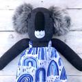 'Addie' the Sock Koala - blue rainbows - *MADE TO ORDER*